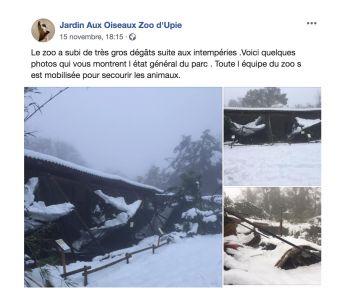 LE ZOO D'UPIE LE JARDIN AUX OISEAUX SEVEREMENT TOUCHE PAR LES INTEMPERIES