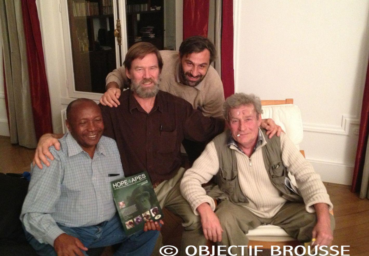 Photo de Norbert MUSCHENZI, Ian REDMOND, Xavier GILIBERT & André LUCAS © Objectif Brousse