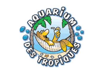 Logo de l'Aquarium des Tropiques avec un poisson dans un hamac à Allex dans la Drôme
