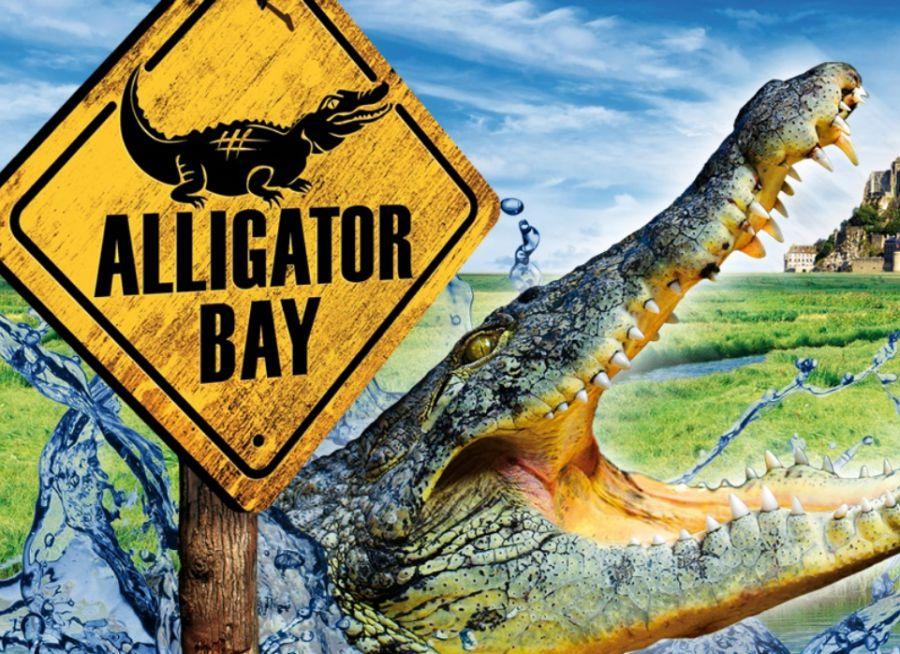 Affiche avec un crocodile du parc de reptiles Alligator Bay dans la Manche près du Mont-Saint-Michel