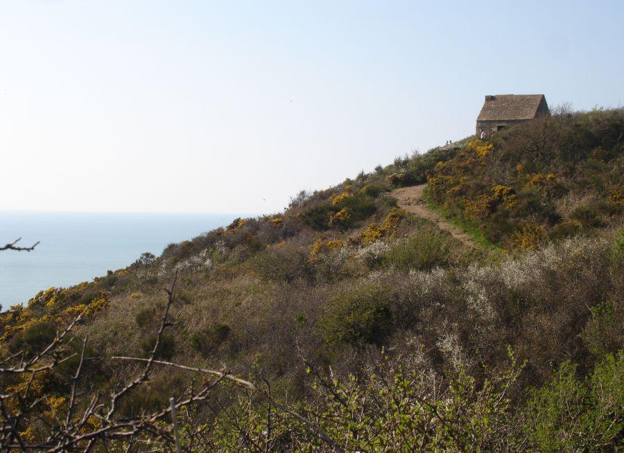 Photo de Cabane Vauban à la Pointe de Champeaux dans la Manche par Pinpin, Wikimedia Commons (CC BY 2-5)
