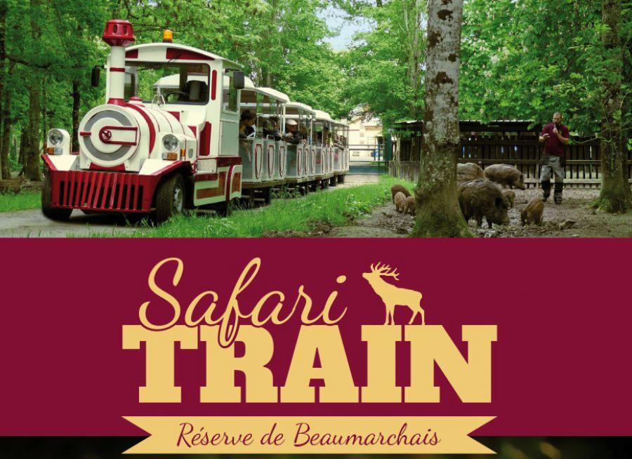 Affiche du Safari-Train Réserve de Beaumarchais à Autrèche dans l'Indre-et-Loire